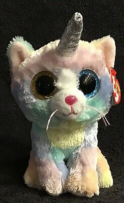 Ty Beanie Babies Boos Heather the Unicorn Cat kitty Rainbow Plush Toy