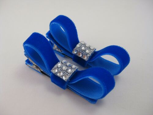 Girl Teen Lady Holiday Christmas Rhinestone Velvet 2pc Mini Hair Bow Clips