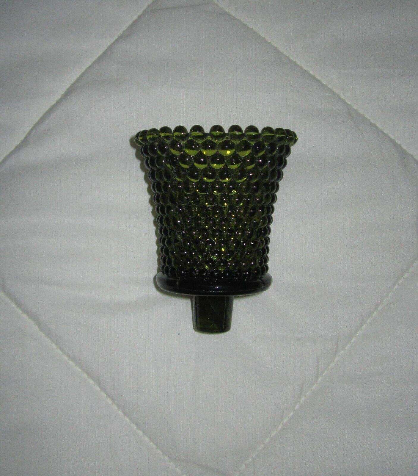 1 Vintage Green Hobnail Glass Pegged Candle Votive Cup Home Interior For Sale