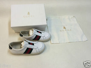 New Boxed Gucci White Verde Kids shoes size 26 Made In Italy. Inc ... db40a23cc53