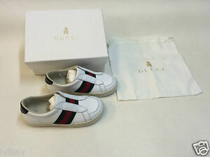 New Boxed Gucci White Verde Kids shoes size 26 Made In Italy. Inc ... b5d0dfd4eb94