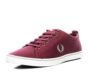 Fred Perry Men's Hallam Twill Canvas Trainers Shoes B7483-106 - Maroon