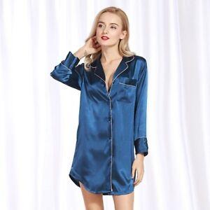 l'ultimo aa1d8 e435c Dettagli su Pigiami donna Lady manica lunga camicia notte pigiami camicia  da notte seta raso