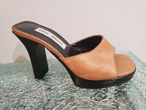 Mule Slide Sandals Camel Leather