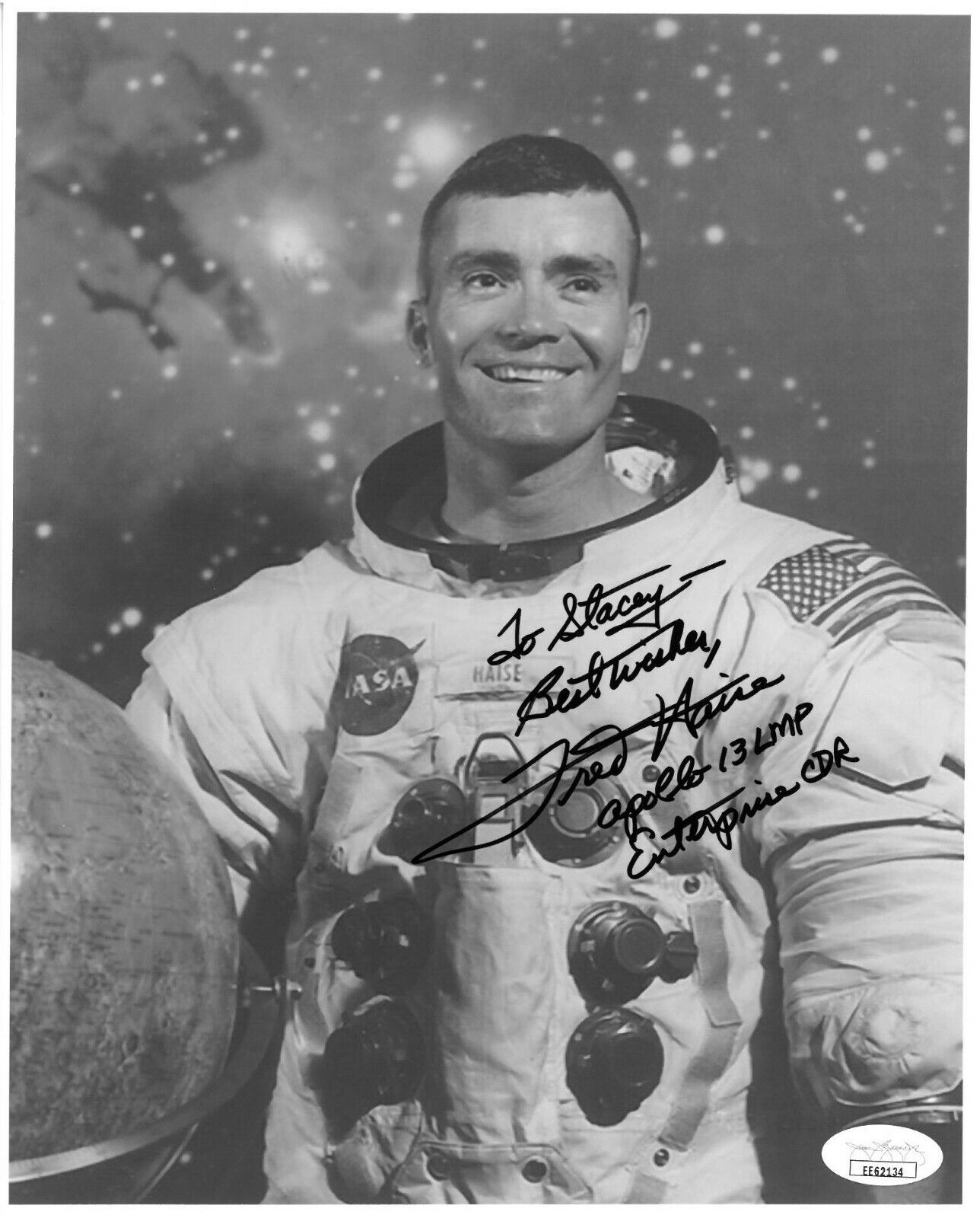 s l1600 - Fred Haise signed NASA Astronaut/Pilot 8x10 Photo Apollo 13 LMP To Stacey- JSA