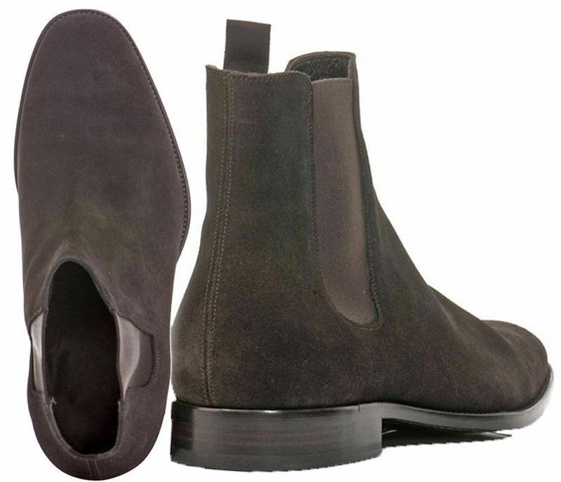 botas para hombre Hecho a Mano Suela De Cuero Gamuza patente Chelsea Formal Zapatos Casual Wear