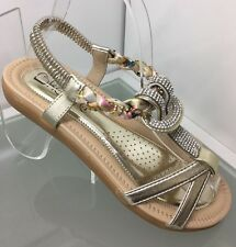 LADIES WOMENS GOLD SANDALS DIAMANTE COMFORT LOW FLAT HEEL BEACH SHOES SIZE 3