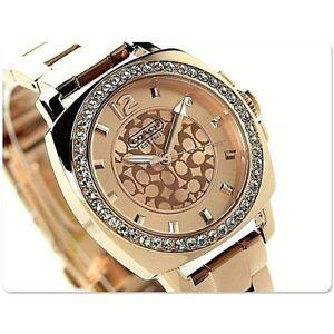 dacb10673fc7 NWT Coach Women s Watch Rose Gold SS Bracelet Glitz BOYFRIEND ...