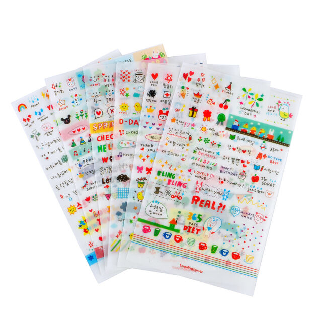 6 Sheets Retro DIY Calendar Paper Stickers for Scrapbooking Diary Planner Sticky