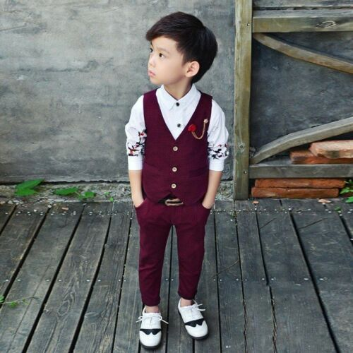 New Fashion Kids Baby Boys Gentleman Suit For Wedding Clothes Waistcoat Pants