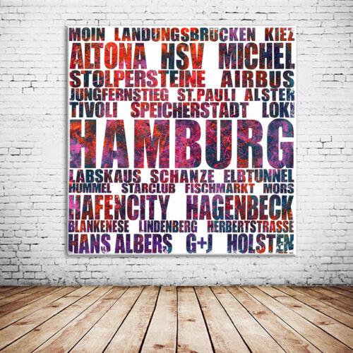 "+ + WITZIGE GESCHENKIDEE! Hamburg LEINWAND BILD 20x20 cm /""HUMMEL HUMMEL/"" +"