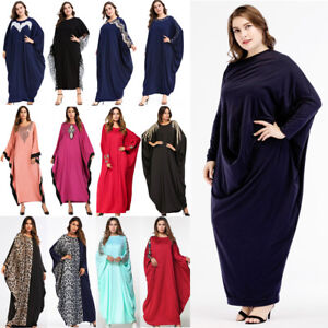 Abaya-Muslim-Women-Dress-Batwing-Sleeve-Loose-Kaftan-Islamic-Dubai-Jilbab-Robe