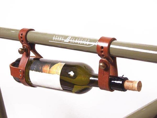 Portabottiglia in cuoio attacco al telaio tubo superiore Brave Classics biciclet