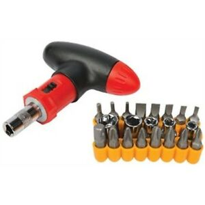 Silverline-380746-T-handle-Ratchet-Screwdriver-Set-Slotted-Pozi-Phillips-amp