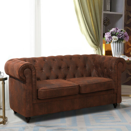 Chesterfield Velvet Distressed Tan 2 Seater Love Seat Sofa Couch Settee Chair