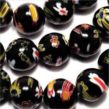 Lot de 10 Perles en Verre Millefiori 10mm Noir