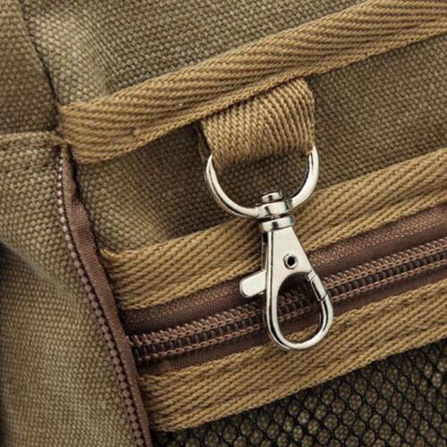 Mens Vintage Small Canvas Shoulder Bag  Leather Satchel School Military Messenge