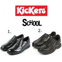 Kickers Slip On Boys Durable Leather Back To School Shoes Black Sizes: 31-39