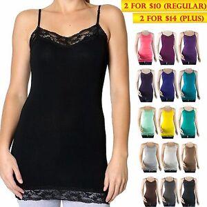 34b0826f0fd New Women Spaghetti Strap Basic Tank Top Lace Trim Solid Tee Size S ...