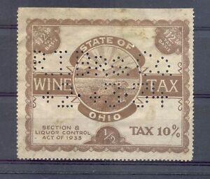 USA WINE TAX LABEL - 1933 - OHIO $ 12,50 ---FINE