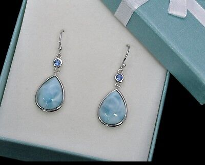 Silver Earrings Boho Earrings Gift Larimar Earrings Larimar 10x14mm Pear Shape Earrings 925 Sterling Silver Earrings Handmade Earrings