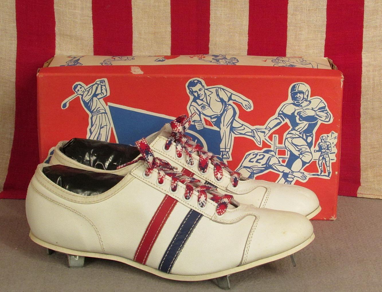 Vintage Gotham Leder Baseball Top Schuhes Cleats Niedrig Top Baseball ROT/Wht/Blau NOS w/Box Sz.9 90d118