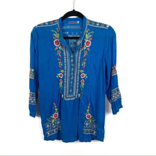 Johnny Was Blue Embroidered Blouse Size XS
