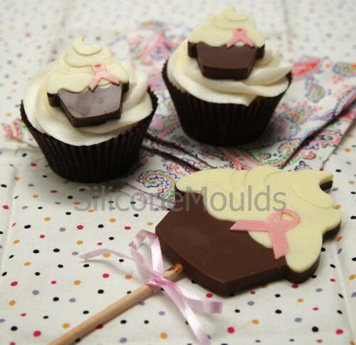 4+1 Charity Cupcake *PINK* Chocolate Silicone Bakeware Cake Lolly Mould Candy