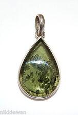 Moldavite Sterling Silver Pendant Rare Tektite Meteorite Large Cabachon Cut