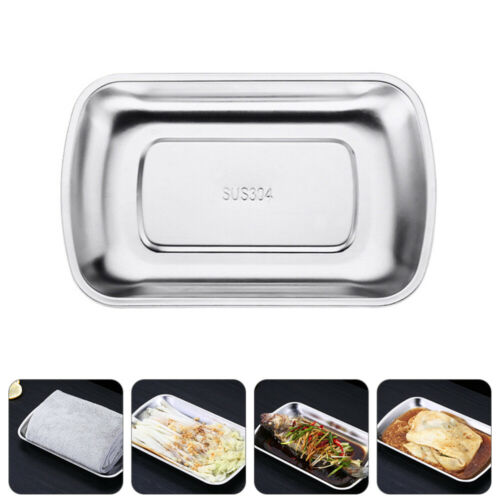 Stainless Steel Food Plate Serving Tray Dish Container Dinner Tableware Camping