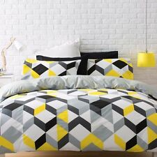 BLACK YELLOW GREY WHITE GEOMETRIC DOUBLE bed QUILT DOONA COVER SET NEW
