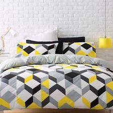 BLACK YELLOW GREY WHITE GEOMETRIC SINGLE bed QUILT DOONA COVER SET NEW
