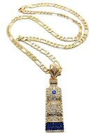 Iced Out Ciroc Vodka Bottle Pendant 5mm/24 Figaro Chain Necklace Mz57
