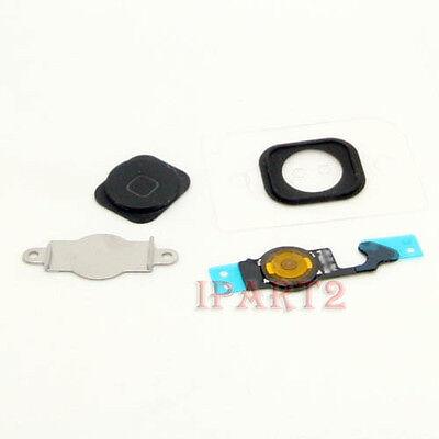 Home Menu Button Key Cap +Flex Cable + Bracket Holder for Apple iPhone 5 (Black)