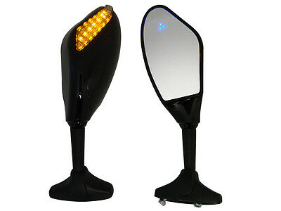 Gloss Black Integrated Amber/Blue LED Turn Signal Mirrors for Yamaha R1 R6 ZX6R