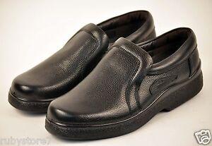Men's Black Restaurant Work Shoes Genuine Leather Slip & Oil Resistant Wide 228