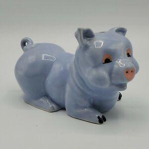 Vintage-Smiling-Happy-Blue-Piggy-Bank-Pig-Ceramic-Porcelain