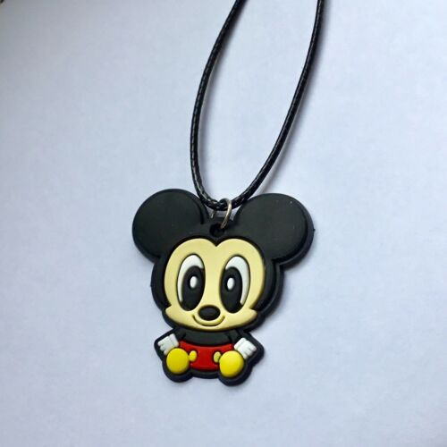 Cute MICKEY MOUSE Rubber Pendant Faux Leather Pendant Necklace New Gift U.K.