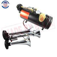 3-trumpet Chrome Train Air Horn Kit W/ 150 Psi 3 Liter 12v Air Compressor 150db+
