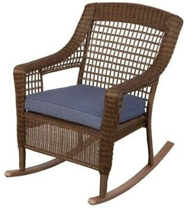 Image Is Loading Outdoor Wicker Rocking Chair Brown All Weather Patio