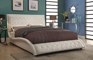 Details about SLEEK CURVY MODERN OFF WHITE LEATHERETTE KING BED BEDROOM  FURNITURE SALE