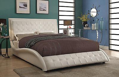Sleek Modern Off White Leatherette King Bed Bedroom Furniture