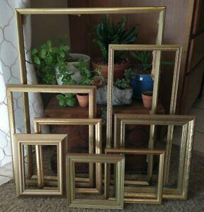 Vintage Gold Wood Ornate PICTURE FRAME Lot  Recycle Art Craft Deco Estate Sale 8