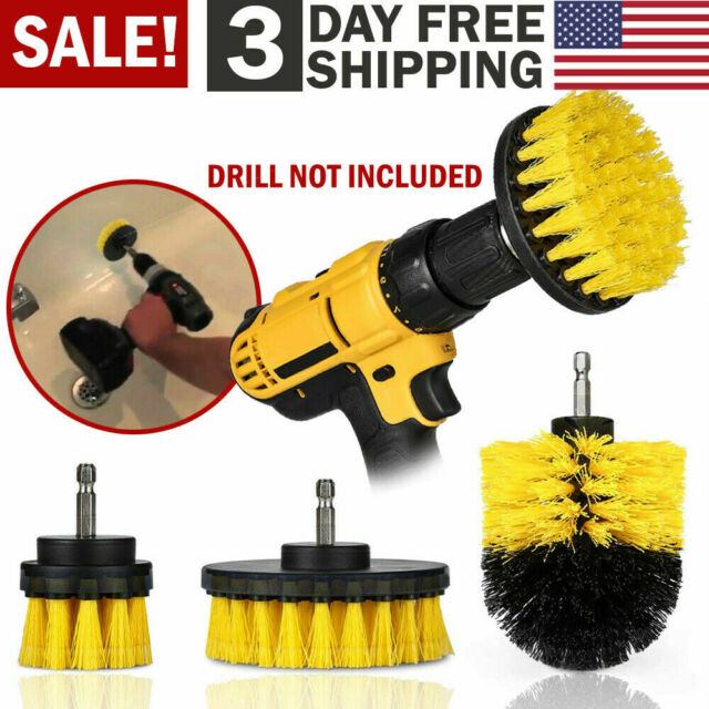 Power Scrubber Drill Brush Cleaner Bathroom Combo Tub 3pcs Set Tile Grout Wall For Sale Online Ebay
