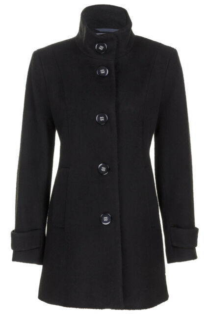 Busy Ladies Black High Neck Wool Blend Coat