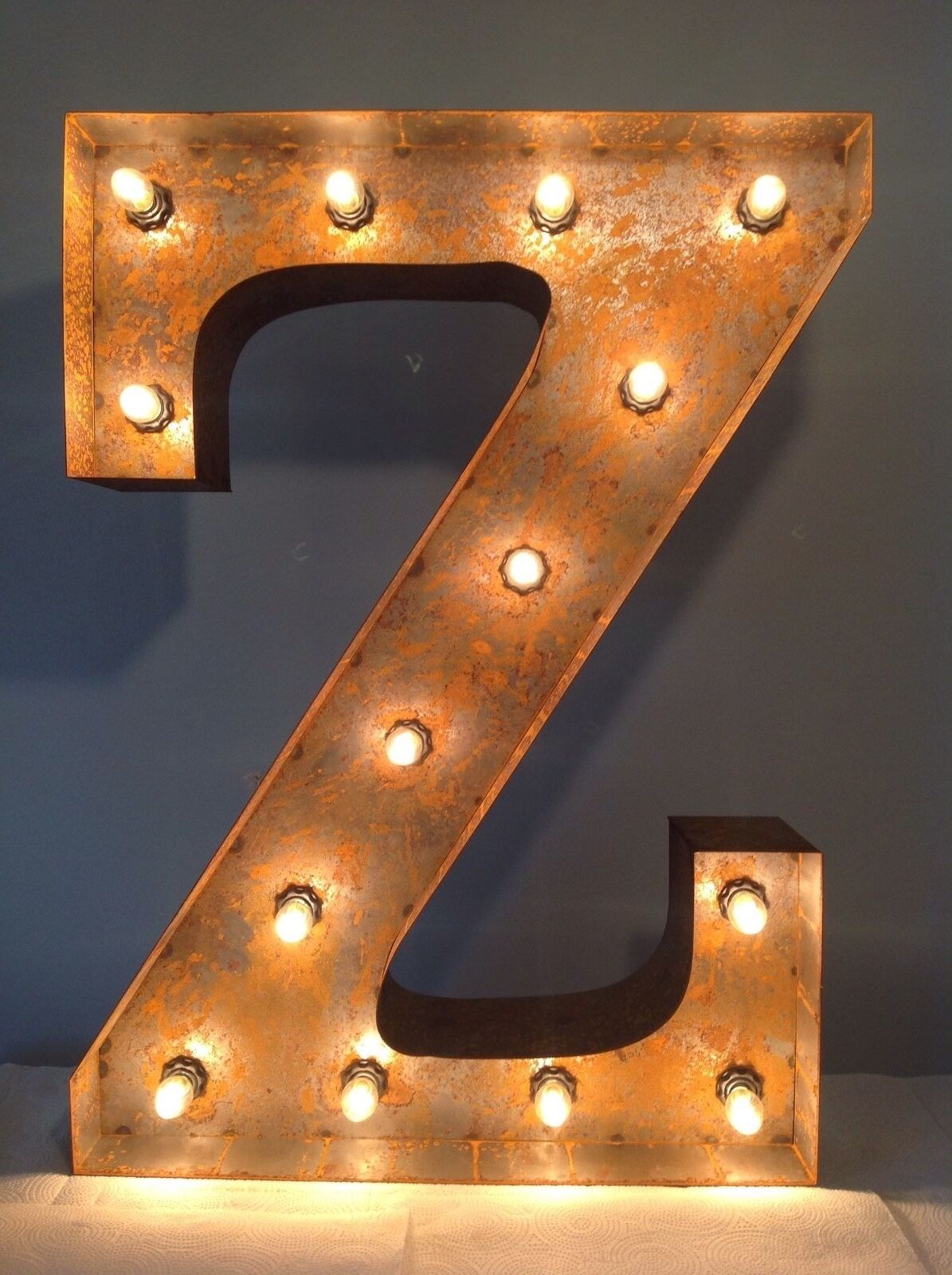 12  Vintage Marquee Light Letter Z (rustic)  12  Free Shipping