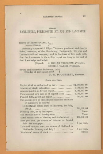 1869 RR report HARRISBURG PORTSMOUTH MOUNT JOY & LANCASTER RAILROAD Pennsylvania