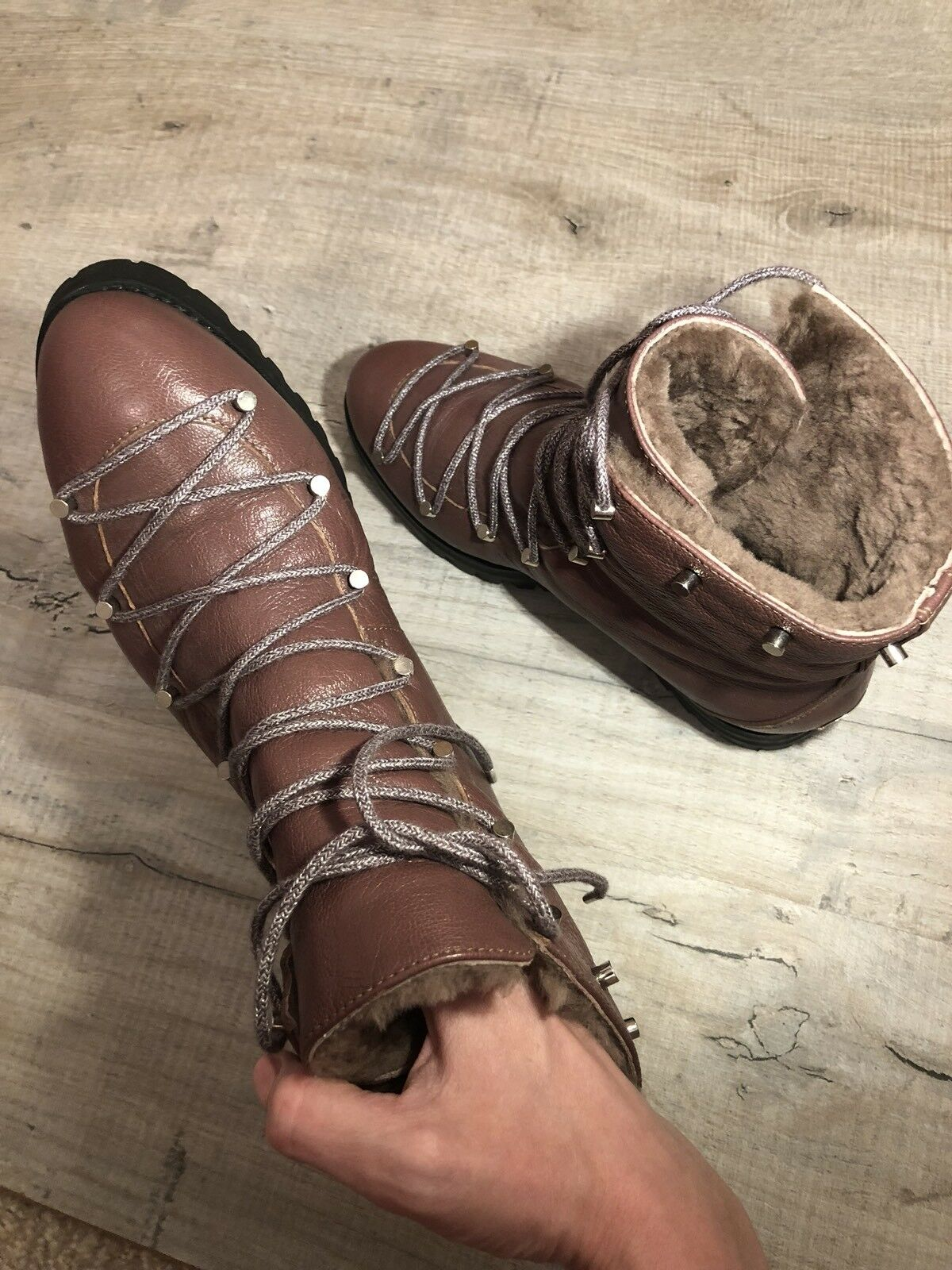 """Jimmy Choo """"Drake"""" braun-Wine Shearling Lace Up Stiefel Größe Größe Größe UK 4 IT 37 f96ad1"""