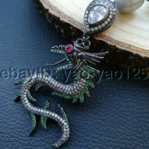 "K093002 20/"" Gray Rice Pearl Cz Chain Necklace Dragon Pendant"
