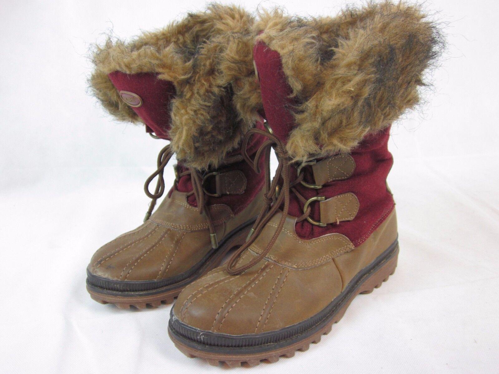 Khombu Park City Red Tan Leather & Faux Fur Lace Up Winter Boot Size 8